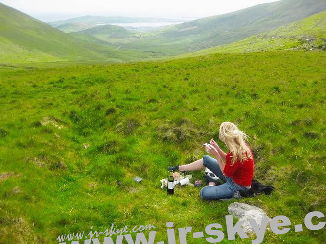 """I travel to #Ireland several times a year, this is one of the most beautiful places: drinking red wine at CONOR PASS (An Chonair) #Dingle #Kerry #WildAtlanticWay (52° 10′ 54.94″ N, 10° 12′ 26.33″ W)."""