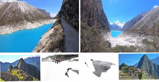 Lake Parón, Cordillera Blanca, Peruvian Andes, Peru (8° 59′ 30″ S, 77° 41′ 0″ W), Machu Picchu & Ausangate, Cordillera Vilcanota (13° 47′ 19″ S, 71° 13′ 52″ W)...