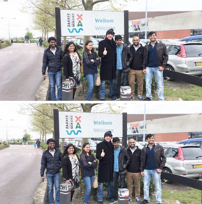 usammen mit einer Reisegruppe aus Bangalore/Indien, die ich in Indien kennengelernt und in Zaandijk/ Niederlande (Zaanse Schans) wiedergetroffen habe. Näheres zu dieser Zusammenkunft in meinen niederländischen Reisenotizen...