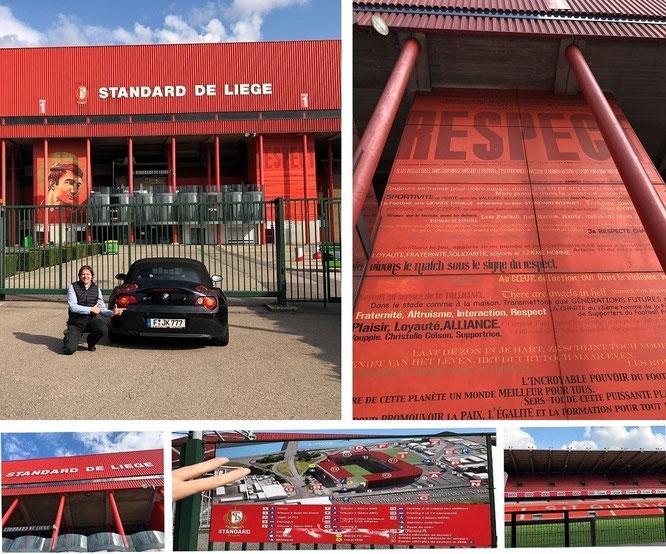 With one of my sportscars from Frankfurt/Germany to Liege/Belgium: Maurice-Dufrasne-Stadium (Stade de Sclessin), Standard de Liege (Standard Lüttich, 50° 36′ 35.67″ N, 5° 32′ 36.04″ E)...