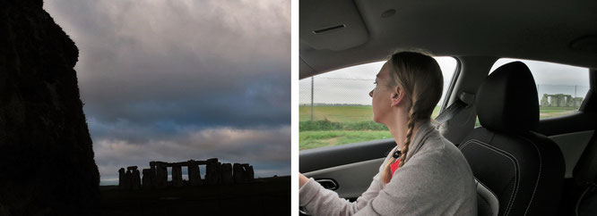 Stonehenge im seitlichen Rückfenster unseres Miet-Sportcoupes (rechts, Fahrerseite)...