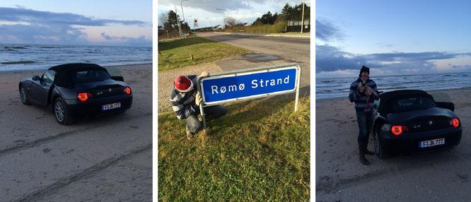 Immer wieder Römö. Während eines Sonnenuntergangs am Strandlimit, ein oft passiertes Schild und ein weiterer Sonnenuntergang - hier in orientalischer Begleitung (näheres durch klicken des Foto-Trios)...