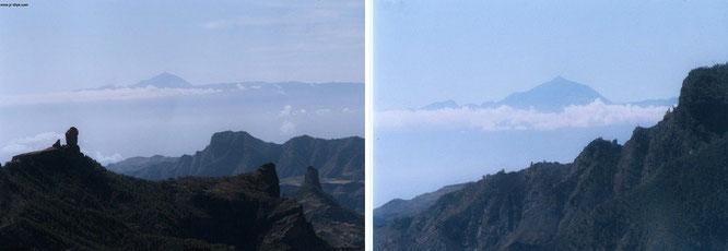 Teide, der höchste Berg Spaniens (3.718 Meter) von Gran Canaria aus gesehen*: Von Pinar de Tamadaba aus erhaltet Ihr an klaren Tagen den vollen Durchblick. Links der Roque Nublo (1.813 Meter), der 2. höchste Berg Gran Canarias...