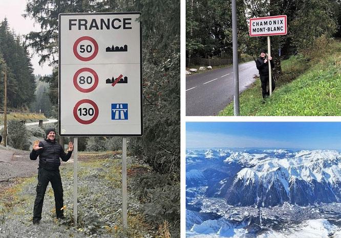 Cross the border Switzerland - France on my way to Chamonix-Mont-Blanc (45° 55′ 20″ N, 6° 52′ 8″ E)...