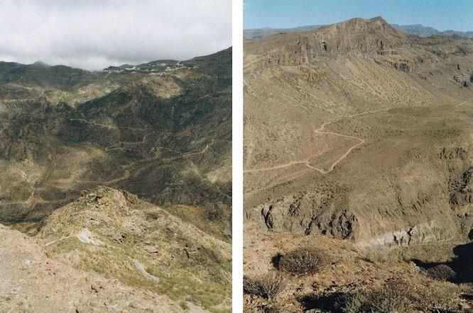 Auch auf La Palma schmiegen sich einsame Bergpfade karge Hügelketten hinauf: hier winden sich Begehungswege im Süden der Insel empor...