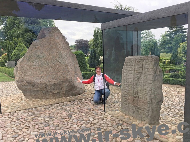"""Two of the most significant stones in Europe: UNESCO World Heritage Site #Jelling #Denmark A facsimile of the image of Christ on Harald's runestone (left) appears on the inside front cover of the Danish passport."""