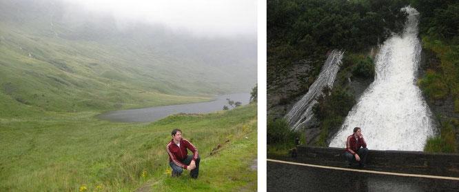 Glen Coe (im leichten Regen, links) und zuvor auf halbem Weg bei Glencoe (rechts)...