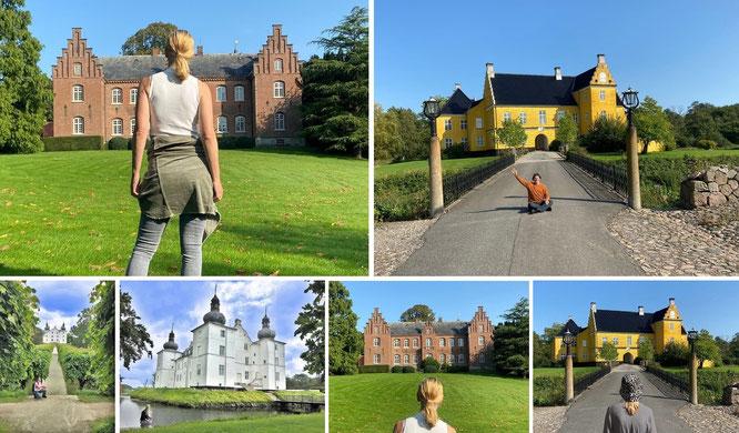 Erholm Slot, Aarup (55° 16′ 0.12″ N, 9° 58′ 0.01″ O) und Lyykkesholm Slot, Ørbæk - 15 km südwestlich von Nyborg (55° 14′ 21.5″ N, 10° 37′ 6.28″ E)...