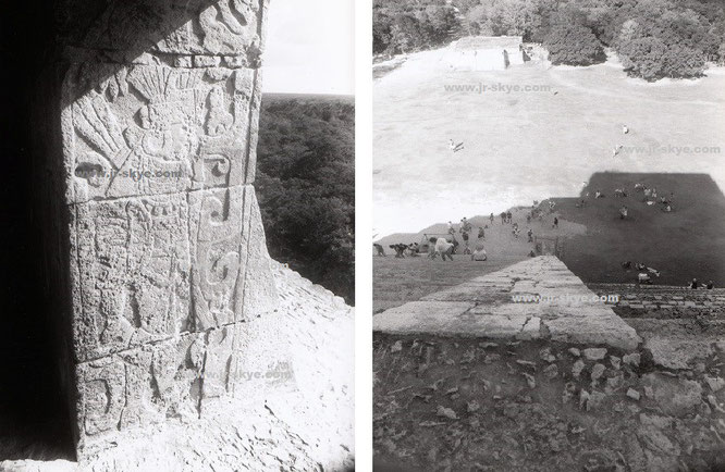 Nach meinem schweißtreibenden Aufstieg: 1 Meter weiter rechts ließ meine Füße über Dschungel und archäologische Zone baumeln. Das Kriegerrelief am Tempeleingang des Castillo gehört für mich zu den großartigsten Reliefs, vor denen ich je gestanden habe...