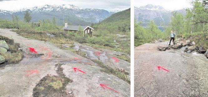 """Gerade im unteren, einstelligen Kilometerbereich - hier am Rande des """"Ferienhüttental Mogelidalen"""" - weisen Euch sporadisch diese roten Pfeile den Weg. Im weiteren Verlauf sucht Ihr diese Markierungen zunehmend vergeblich..."""