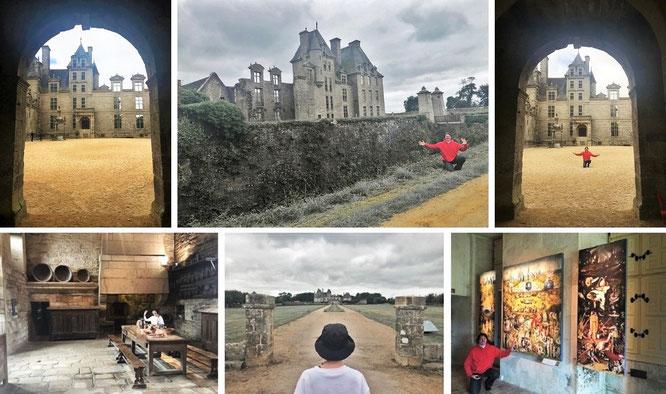 """Düsteres Château de Kerjean, Saint Vougay, Department Finistère, Frankreich (48° 34′ 49.8″ N, 4° 8′ 49.92″ W). Inklusive Hieronymus Boschs """"Der Garten der Lüste"""" (ca. 1490 - 1500, rechts unten, Kopie, Original im Museo del Prado, Madrid)."""