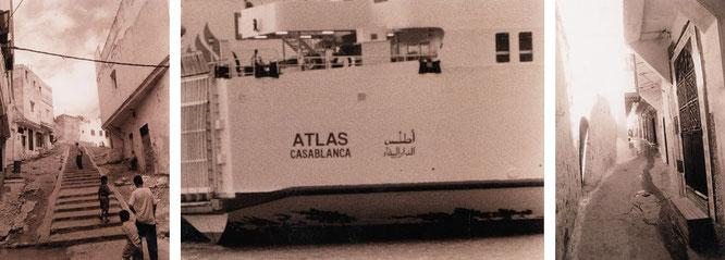 """Casablanca (aus dem Spanischen """"Das weiße Haus"""", mit 3,5 Millionen Einwohnern größte Stadt Marokkos) -  Medina und Hafen..."""