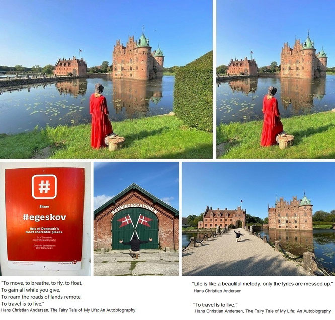 """...with Mona-Liza at Egeskov Slot, Kværndrup Sogn, Fyn/Fünen - 55° 10′ 35″ N, 10° 29′ 22″ O. From Amalienborg to Voergaard Castle, from Rosenborg to Frederiksborg and from Kronborg to Lykkesholm & Holckenhavn."""