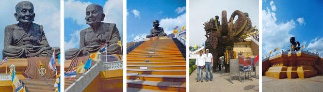 """Wat Huay Mongkol. Auf Foto Nr. 3 """"Tam"""" - ein Bekannter aus Bangkok, den Mona-Liza und ich zufällig während einem unserer immer wiederkehrenden Ausflüge nach Pala U hier getroffen haben..."""