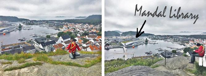 Einigen Bibliotheken nähere ich mich über Stock und Stein: Mandal Library (die Einrichtung ist jenseits des roten Wasserballs zu lokalisieren), Havnegata 2, Mandal/Norwegen...