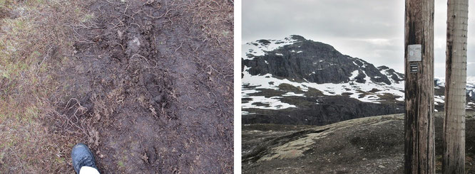 Die Perspektive: wasserdurchdrängte Wege wechseln mit steinigen Pfaden...