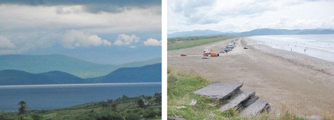 Dingle eröffnet großartige Ausblicke, ob über die eigene Küstenlinie oder jene von Iveragh, die von Inch nur wenige Kilometer entfernt liegt (links).