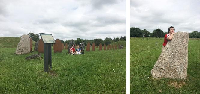 ...ein großartiger Ort für ein Picknick: Baekke Monument, Klebaek! Rechts der große Runenstein, der die Schiffssetzung  in westlicher Richtung abschließt (Schiffsbug).