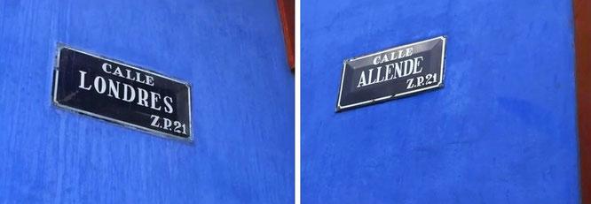...zu Besuch bei Frida Kahlo: Calle Londres/Calle Allende, Mexico-City (19° 21′ 18.11″ N, 99° 9′ 46.24″ W). Fortsetzung weiter unten!
