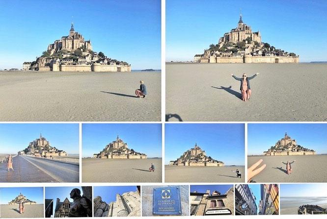 """We are the only visitors of Mont-Saint-Michel."" Saint-Michel, Grenzlinie Normandie (Département Manche)/Bretagne (48° 38′ 9″ N, 1° 30′ 41″ W),  Anfang September, 07:15  Uhr..."