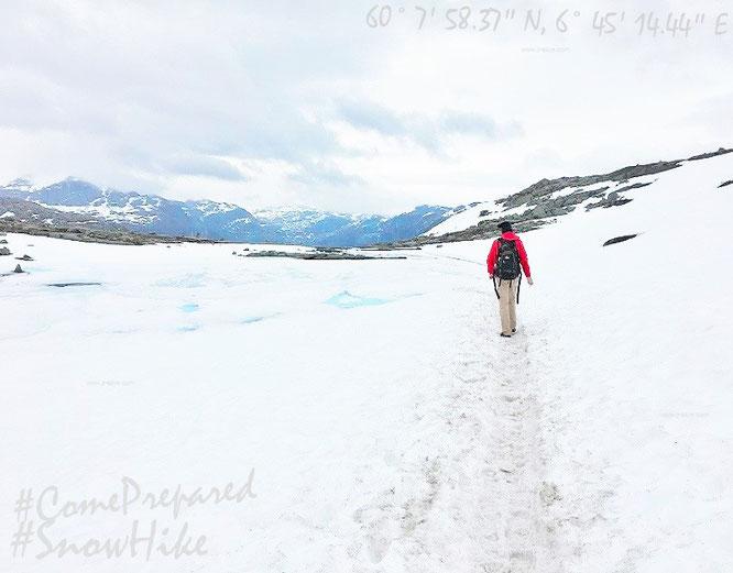 Harte Realität zum Saisonstart am 15. Juni: Ab Plateau 1 ist und bleibt Schnee - bis zu Eurem Ziel - beinahe Euer ständiger Begleiter...