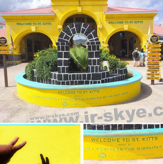 Welcome to St. Kitts (St Kitts Cruise Port/Basseterre Cruise Terminal St Kitts, 17° 19′ 11″ N, 62° 44′ 50″ W)...