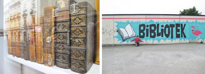 Keine Bibliothek (l.) - denn hier stehen Bücher zum Verkauf. Mitten in Paris. Die Auslage eines minimalistischen Antiquariats in St. Germain. Rechts: gesehen in Norwegen...