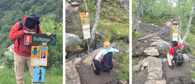 Trolltunga - vorbildliche Streckenführung. Startpunkt Skjeggedal (Parkplatz, links) und jene Wegpunkte, die Euch im Abstand von jeweils einem Kilometer über Euren aktuellen Standpunkt informieren. Zwischenzeitlich weißen rote Pfeilmarkierungen den Weg...