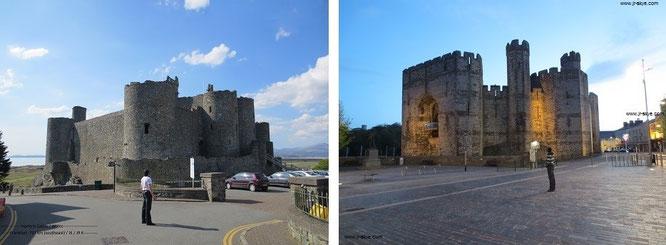 Harlech Castle, Gwynned/ Caernarfon Castle, Wales (53° 8′ 24″ N, 4° 16′ 12″ W)...