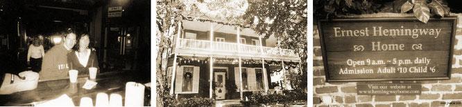 "In Hemingways wahrer Lieblingskneipe: Nicht ""Sloppy Joe's Bar"", sondern dem heutigen ""Captain Tony's Saloon"" in der Green Street. Unten das Hemingway House in der Whitehead Street. Foto: Phill/Key West."