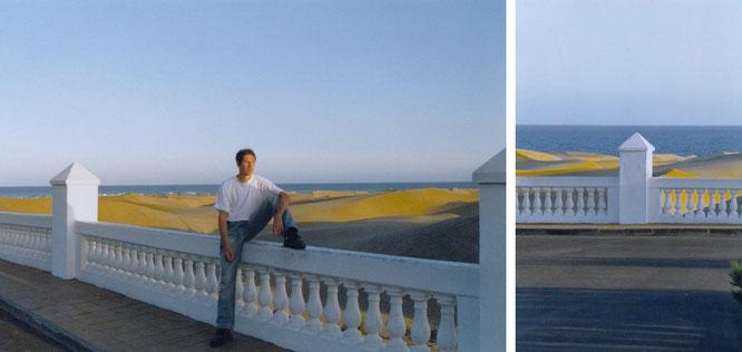Zerriebener Muschel- und Korallenkalk sind die Hauptzutaten der Dunas de Maspalomas - dazu gesellt sich Sand aus der Sahara. Von diesem Punkt (Terrasse des Riu Palace Hotel) habt Ihr die beste Aussicht auf das Spektakel...