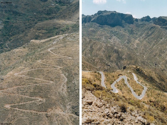 Gran Canaria: Bergpfade (links) und Bergstraßen (rechts), von oben oder seitlich betrachtet. Beide Aufstiegsmöglichkeiten vermischen sich wendungsreich in den grandiosen Felslandschaften der Inselmitte...