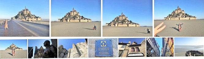 Mont-Saint-Michel, Grenzlinie Normandie (Département Manche)/Bretagne (48° 38′ 9″ N, 1° 30′ 41″ W)...