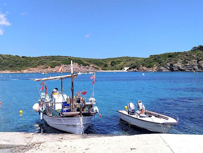 Blick von der Mole im kleinen Hafen auf das Gebiet des Naturparks