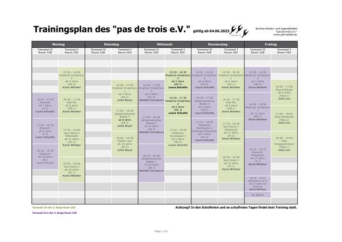 Übersicht der Kurse und Uhrzeiten im FEZ