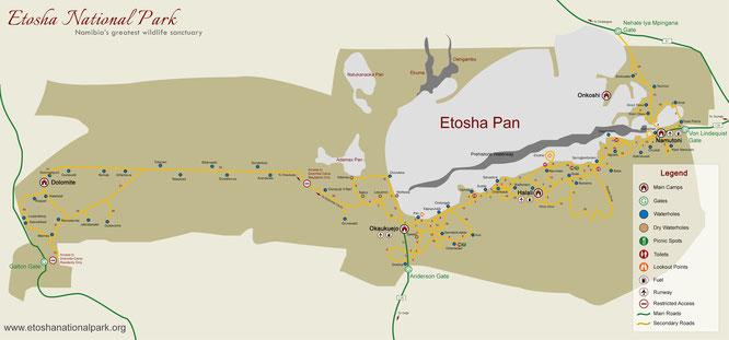 Namibia - Etosha Map