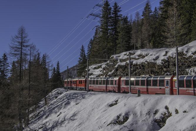 Il Trenino Rosso Regionale si arrampica sul Bernina