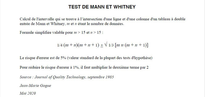 Test de Mann Whitney ou test de Wilcoxon, par Jean Marie Gogue