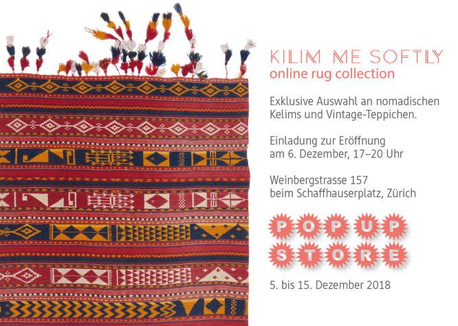 Eröffnung Kelim Ausstellung Kilim me softly 2018, Laden pop up store