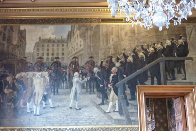 Tableau représentant la réception le 17/7/1789 de Louis XIV par M. BAILLY, premier maire de Paris