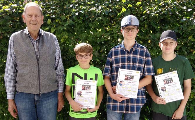 Sieger des Jahresturniers am Gymnasium Bad Tölz: Albert Vosseler, Kilian Beck, Simon Gunst, Tobias Strobl