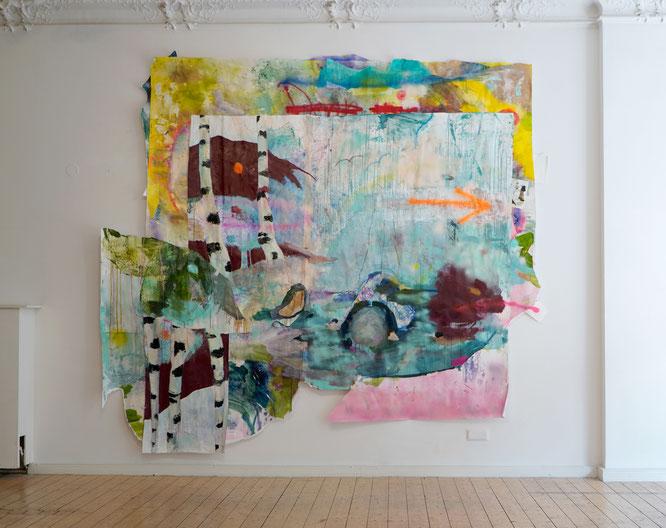 Über den Ufern (Papierarbeit) / Anna Bittersohl / 2021 / Galerie Eigenheim, Berlin.
