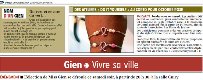 Les Ateliers DIY de Nat Des Ateliers DO IT YOURSELF au Corto pour Octobre Rose