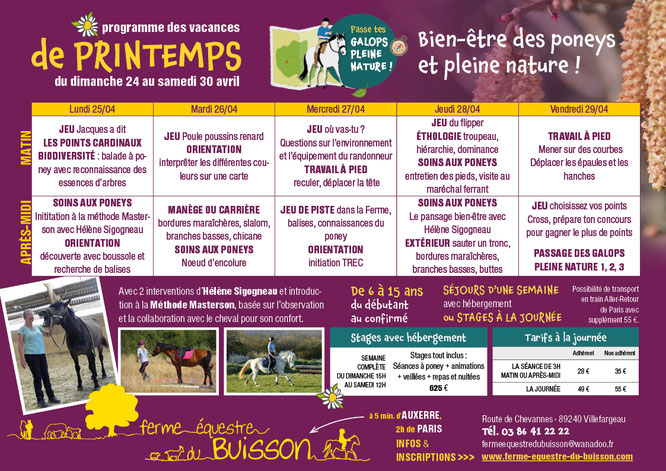 Programme stage d'équitation printemps 2020