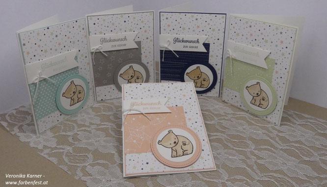 Babykarten in Marineblau/Granit/Lindgrün/Blütenrosa/Aquamarin