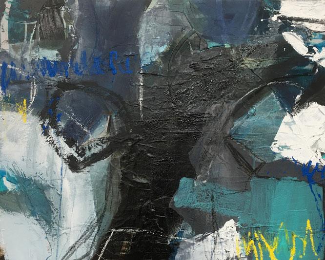 Bild:  Dein liebevoller Blick, 80 x 100 x 4, auf Leinand, Acryl-Mischtechnik mit Bitumen, Asche