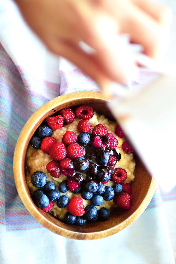 porridge con arándanos
