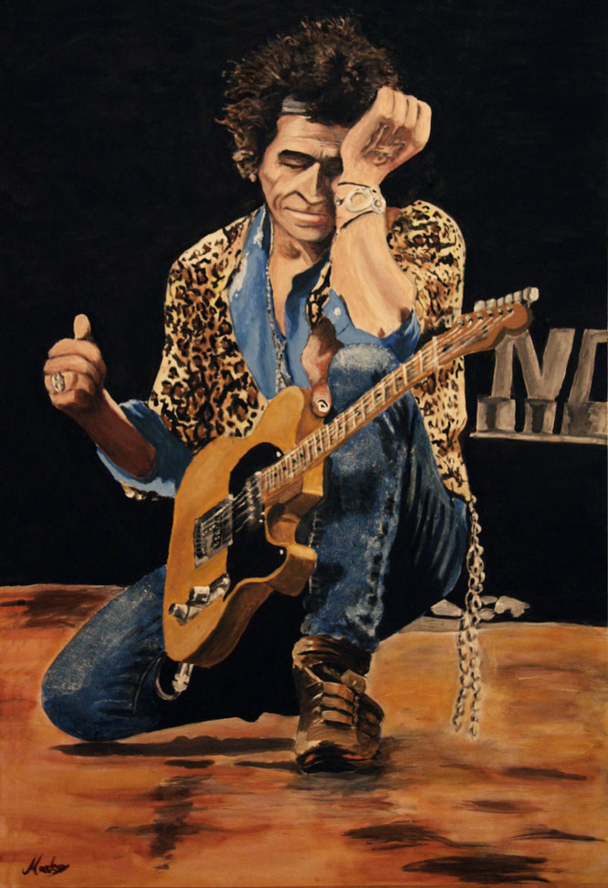 acrylic on canvas keith richards keef Rolling Stones