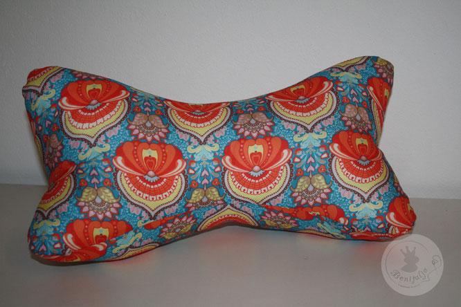 Leseknochen, Nackenkissen, Nackenrolle, Buchstütze, Ornament orange, edel