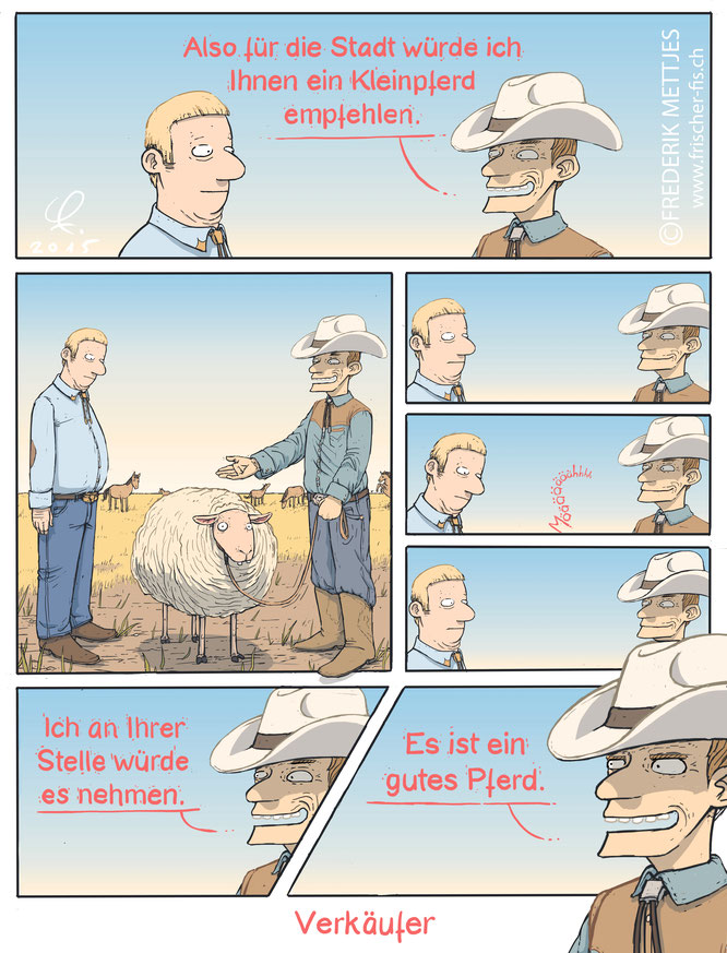 Cartoon by Frederik Mettjes | Gute Verkäufer verkaufen alles